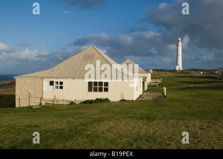 Cape Leeuwin Lighthouse and keepers cottages on a cloudy autumn day, Augusta, Western Australia - Stock Photo