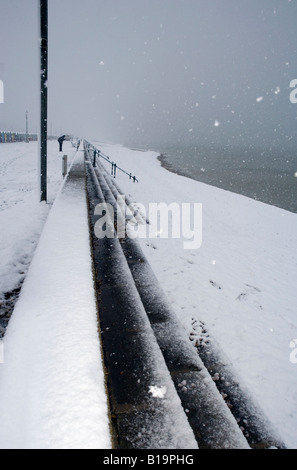 Snow covered beach Hove East Sussex - Stock Photo