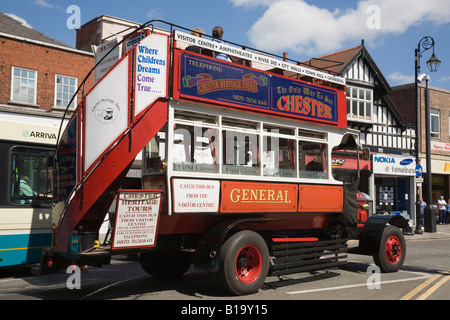 Vintage open top red double decker tourist bus for city centre heritage sightseeing tour. Chester Cheshire England - Stock Photo