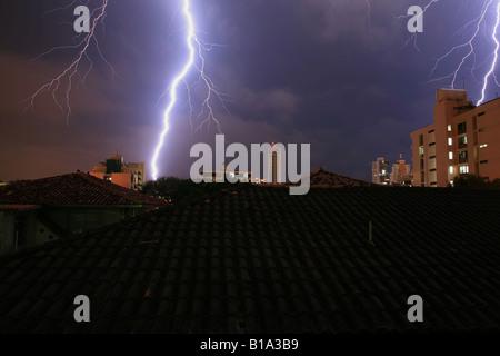 Thunderstorm and lightning in Panama city, Republic of Panama. - Stock Photo