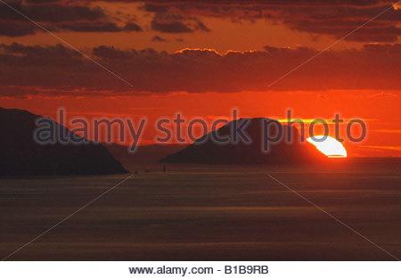 Italy, Alicudi Islands, Sunset - Stock Photo