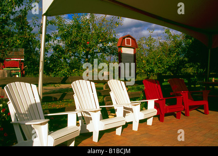 Three Wooden Adirondack Chairs Painted In The Primary