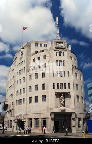 BBC HQ Broadcasting House, Portland Place, London, in colour (B&W version available) - Stock Photo