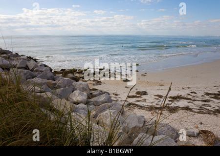 Rock jetty at south end of Long Key, Florida, USA Stock Photo