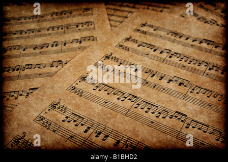 great image of musical notes on brown parchment paper - Stock Photo