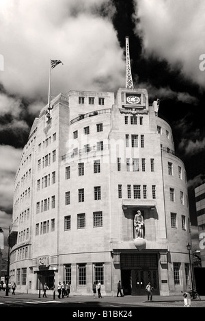 BBC HQ, Broadcasting House Portland Place London, in black & white (colour version available) - Stock Photo