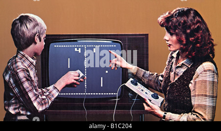 computing / electronic, games, first video game 'Pong', mother with son, Germany, circa 1976, Additional-Rights - Stock Photo