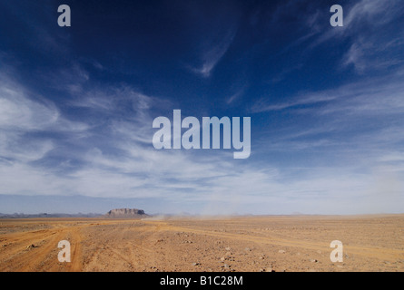 geography / travel, Algeria, landscapes, Ahaggar Mountains, track on basalt plateau near Tamanrasset, Additional - Stock Photo