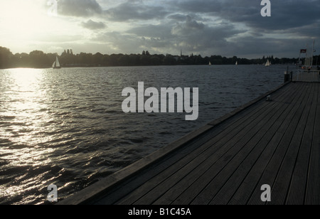 Sunset on lake Aussenalster in the middle of the city of Hamburg, Germany - Stock Photo