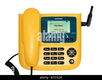 Wireless telephone set used as a payphone on a cellular network in developing countries - Stock Photo