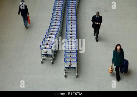 Baggage trolleys at St Pancras International Train Station, London, UK - Stock Photo