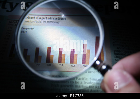 A hand holding a magnifying glass focusing on a business graph - Stock Photo