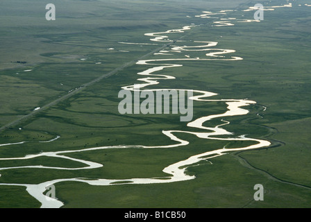 AERIAL VIEW OF MEANDERS ON THE SOUTH PLATTE RIVER; NOTE: BARS WHICH HAVE BECOME ISLANDS / COLORADO - Stock Photo