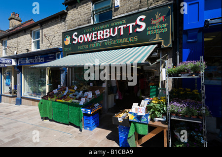 Greengrocer's shop in the town centre, Glossop, Peak District, Derbyshire, England, United Kingdom - Stock Photo