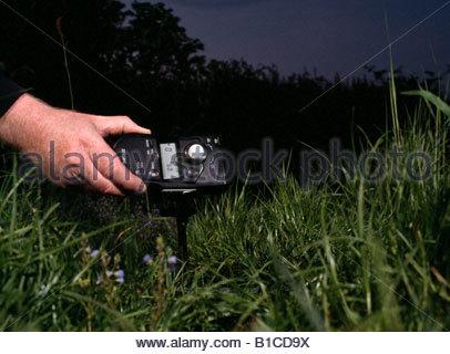 Photographer taking a flash light reading. - Stock Photo
