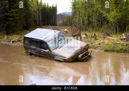 Truck stuck in a deep mud hole - Stock Photo
