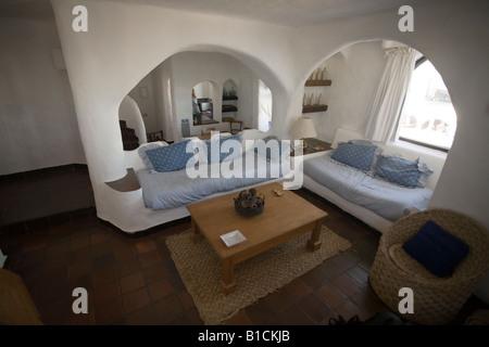 Interior living room of an appartment in Casapueblo Punta del Este Uruguay - Stock Photo