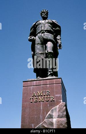 May 28, 2006 - Statue of Timur bin Taraghay Barlas (1336-1405), better known as Tamerlane, at White Palace in Uzbek - Stock Photo