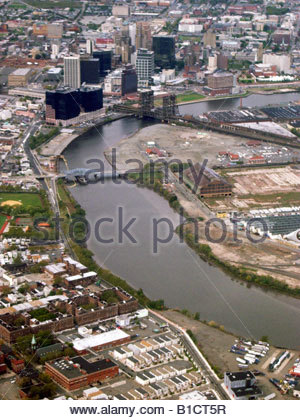 Usa new jersey newark city skyline from passaic river for Motor city newark nj