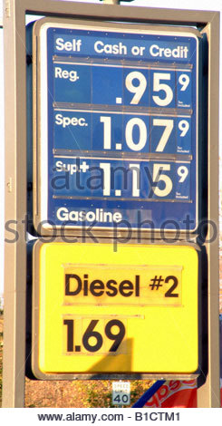 Fuel price pump gasoline gas station 2001 California USA - Stock Photo