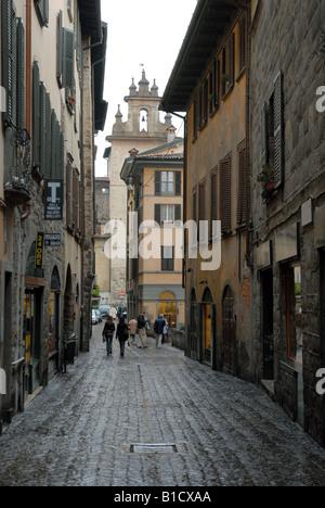 Via Gombito, Bergamo Alta, Lombardy, Italy. - Stock Photo