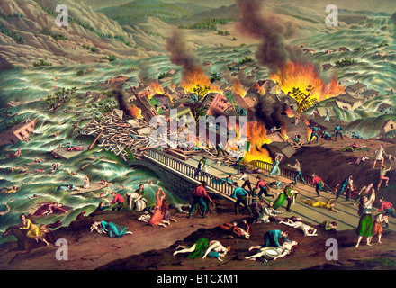 Johnstown Flood - Great Conemaugh-Valley disaster - Stock Photo
