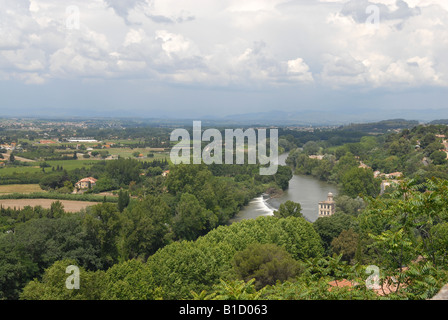 The River Orb and surrounding landscape from Beziers in France Europe - Stock Photo