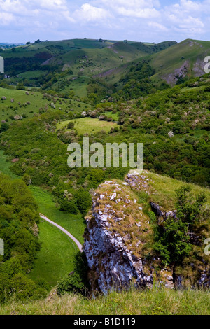 View looking over the Manifold Valley from the summit of the Thor's Cave crag in the Peak District National Park - Stock Photo