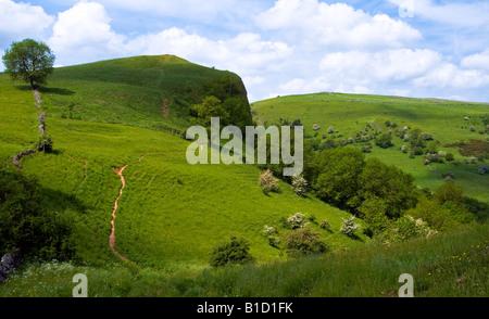 View looking over the Manifold Valley to the summit of the Thor's Cave crag in the Peak District National Park Staffordshire - Stock Photo