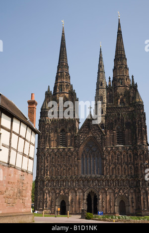 Cathedral church with three spires in city of Lichfield Staffordshire West Midlands England UK Britain - Stock Photo