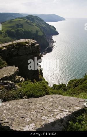 View from Castle Rock, The Valley of Rocks, near Lynton, Exmoor National Park, Devon, England, UK