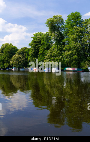 View of the River Thames in Pangbourne West Berkshire England UK with trees reflected in water and small boats moored - Stock Photo