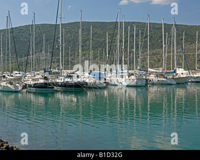 motorboats and sailing boats in the modern marina of the town Cres in Croatia - Stock Photo