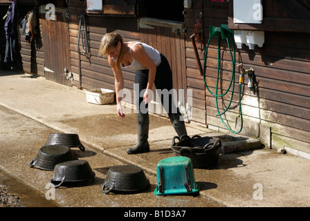 Woman washing and cleaning horse feed bowls and rubber buckets - Stock Photo