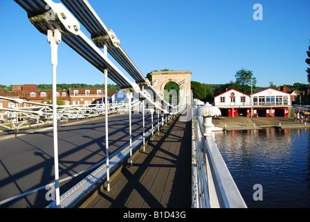 Marlow Suspension Bridge and Marlow Rowing Club, Marlow, Buckinghamshire, England, United Kingdom - Stock Photo