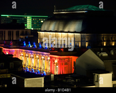 colourful lightened building in the event Luminale 2008 Frankfurt Stock Exchange Hesse Germany - Stock Photo