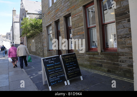 Victoria Street in Kirkwall, the capital of the Orkney Islands. - Stock Photo