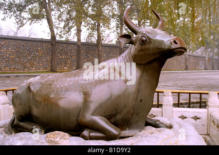 China Beijing copper cow of summer palace travel tour air polusion  capital city Sandstorm  chinese ruins Summer - Stock Photo