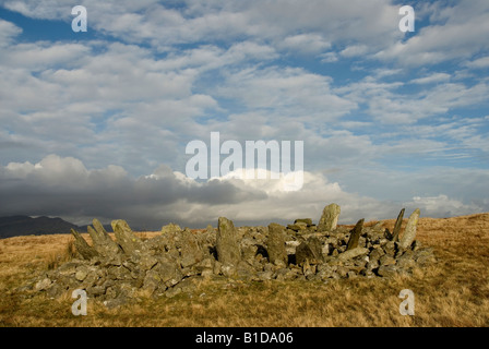 Prehistoric cairn circle Bryn Cader Faner near Harlech Snowdonia
