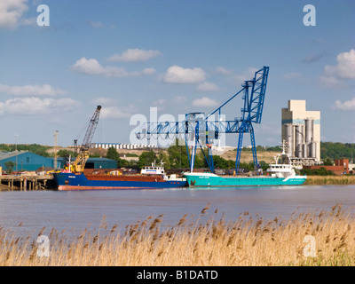 Flixborough Wharf Steel Terminal on the River Trent at Flixborough, North Lincolnshire, UK - Stock Photo