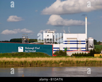 Flixborough Wharf Steel Terminal on the River Trent North Lincolnshire UK - Stock Photo