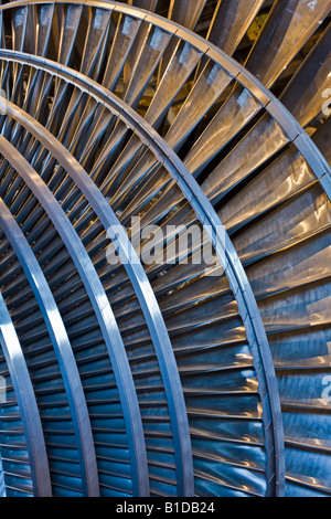 Detail of the blades on a Siemens steam turbine - Stock Photo
