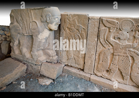 Relief from the  gate of the Late Hittite fortress of ancient Karatepe, Aslantas in the province of Adana, South - Stock Photo