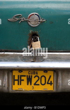 License plate on an old american car in La Habana Vieja - Stock Photo