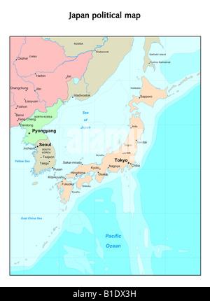 Japan political map - Stock Photo