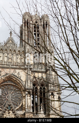 West portal of Notre-Dame cathedral in Reims, Champagne, France - Stock Photo