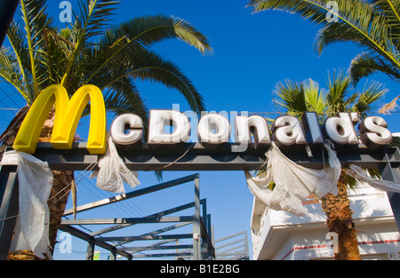 Closed McDonalds in Malia on the Greek Mediterranean island of Crete - Stock Photo