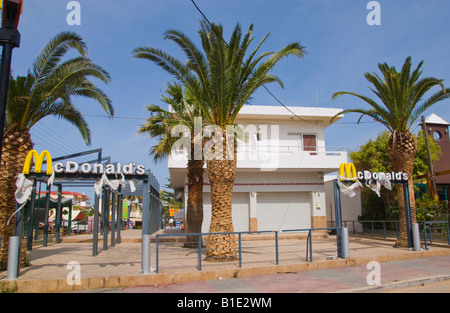 Closed McDonald's in Malia on the Greek Mediterranean island of Crete - Stock Photo