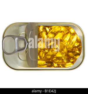 Fish oil capsules in a ring pull tin. Plan view Cut Out Cutout - Stock Photo