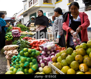 Food market in Otavalo in Northern Ecuador in South America - Stock Photo